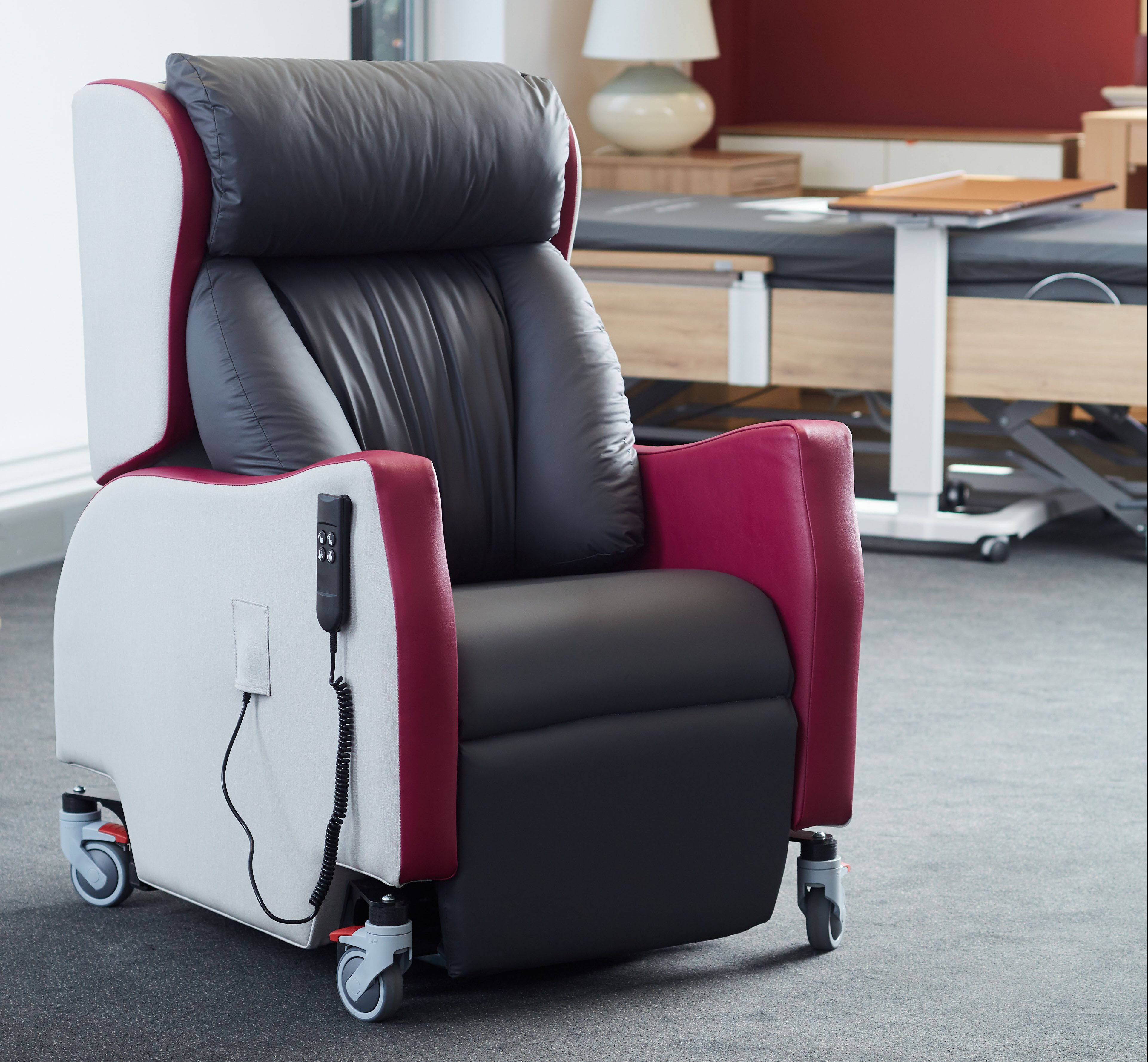A rise and recline chair fitted with magnets to reduce cross-infection