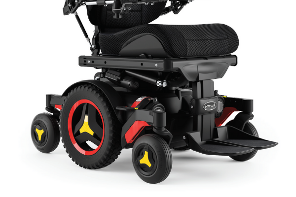 Mid-wheel drive power chairs have large wheels in the centre of the base